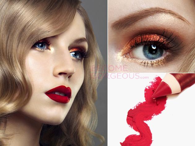 Red Lips Prom Makeup