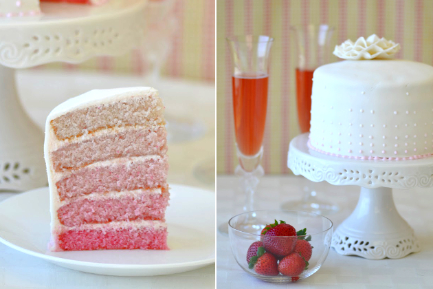 Champagne Strawberry Wedding Cake