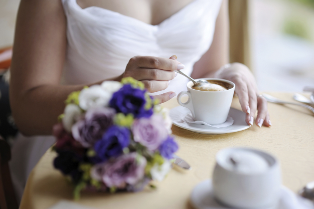 Drinking Coffee Before Wedding