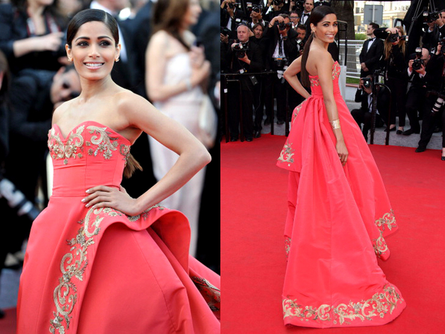 Freida Pinto Oscar De La Renta Dress Cannes 2014 Red Carpet