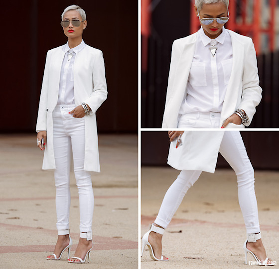 White Outfit With Pants And Jacket