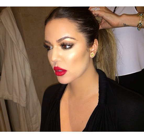Khloe Kardashian Red Lips Makeup Look