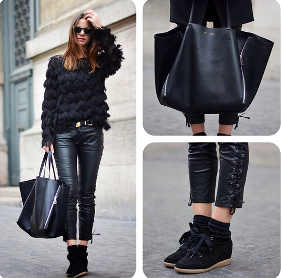 All Black Outfit With Leather Pants