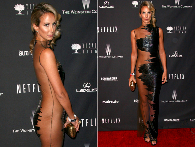 Lady Victoria Hervey Sheer Red Carpet Dress