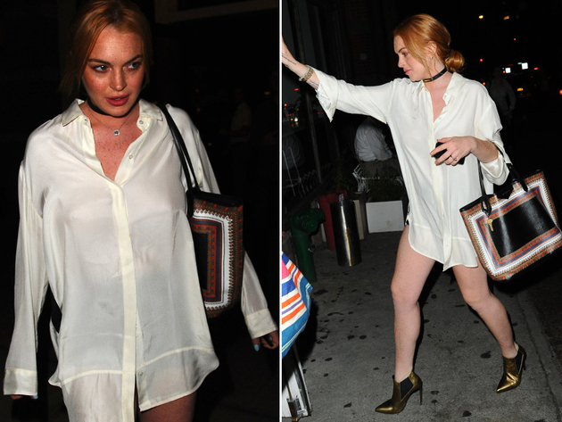 Lindsay Lohan No Pants Look