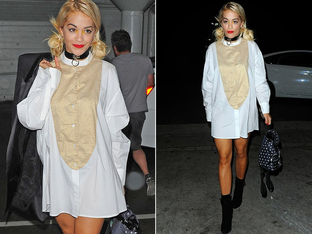 Rita Ora No Pants Look