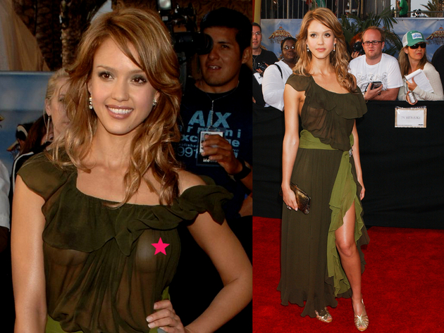 Jessica Alba Nip Slip In See Through Dress