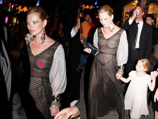 Kate Moss Nip Slip In See Through Dress