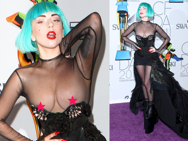 Lady Gaga Nip Slip In See Through Dress