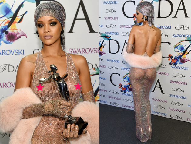 Rihanna Nip Slip In See Through Dress