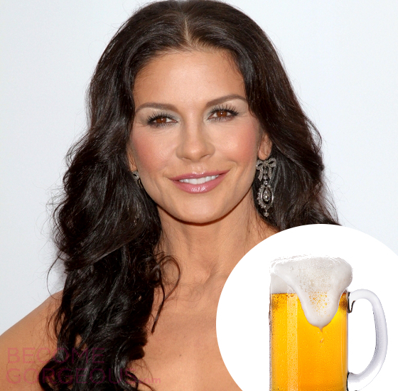 Catherine Zeta Jones Beer Hair Treatment