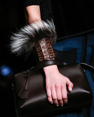 Fendi Fall 2014 Leather And Fur Bracelet