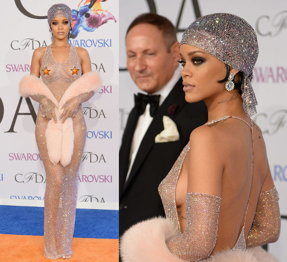 Rihanna Cfda 2014 Nude Dress