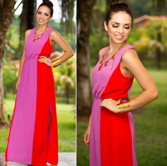 Wedding Guest Outfit Colorblock Maxi