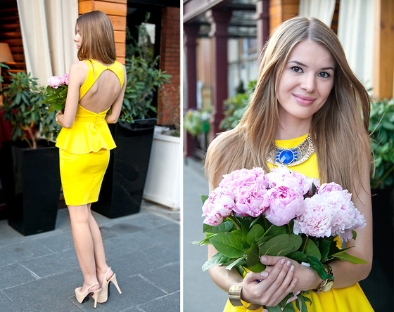 Wedding Guest Outfit Yellow Peplum Dress