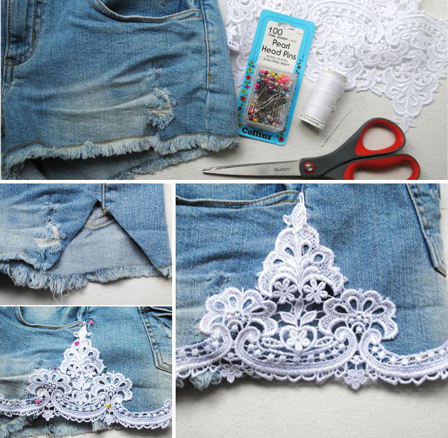 Homemade Denim Lace Shorts
