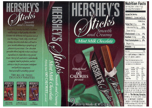 Hershey's Mint Chocolate Sticks