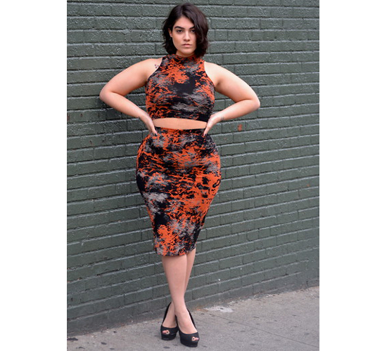 Plus Size Crop Top And Pencil Skirt