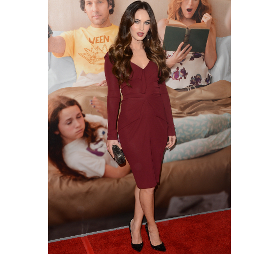 Megan Fox Burgundy Dress