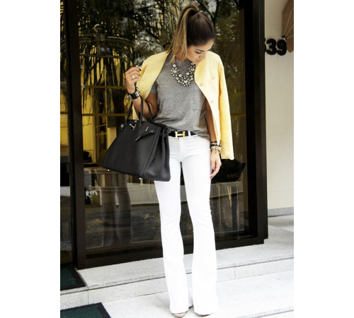 White Flare Jeans Outfit