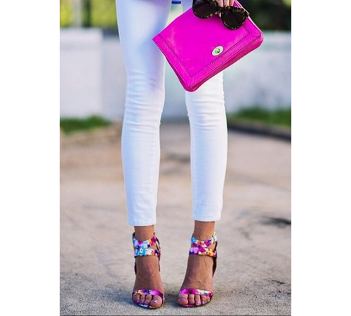 White Jeans With Neon Accessories