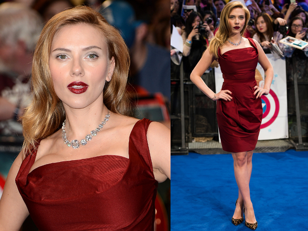 Scarlett Johansson In Vivienne Westwood Red Label Corseted Faille Dress