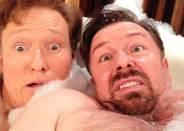 Ricky Gervais And Conan Bathtub Selfie