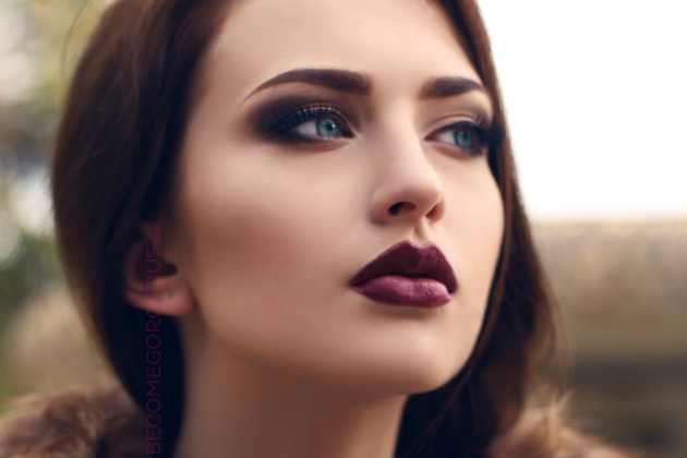Burgundy Lipstick Makeup