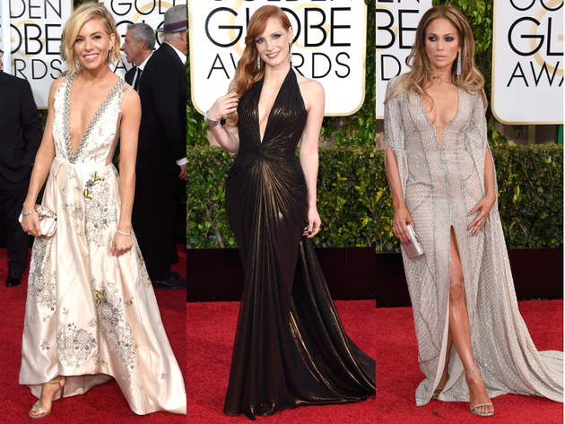 Golden Globes 2015 Belted Plunging Dresses
