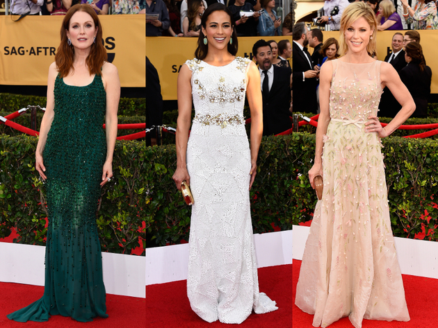 3d Applique Dresses 2015 Sag Awards Red Carpet