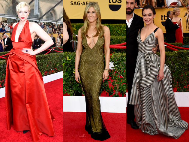 Low Neckline Dresses 2015 Sag Awards Red Carpet