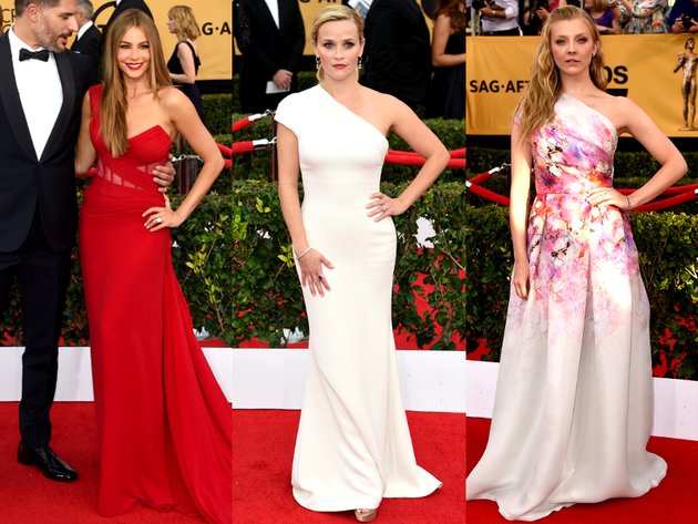 One Shoulder Dresses 2015 Sag Awards Red Carpet