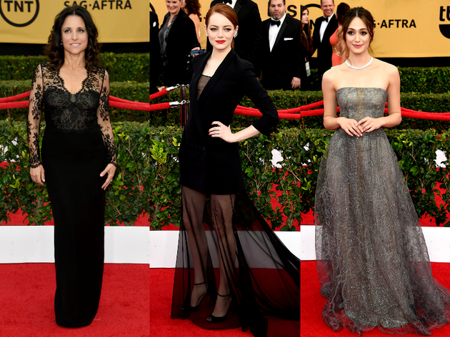 Sheer Overlay Dresses 2015 Sag Awards Red Carpet