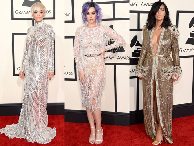 Metallic Dresses Grammys 2015