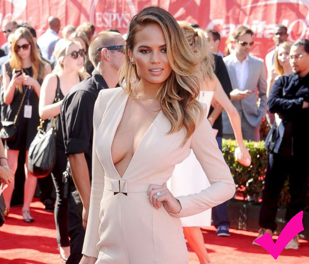 Chrissy Teigen Braless Jumpsuit