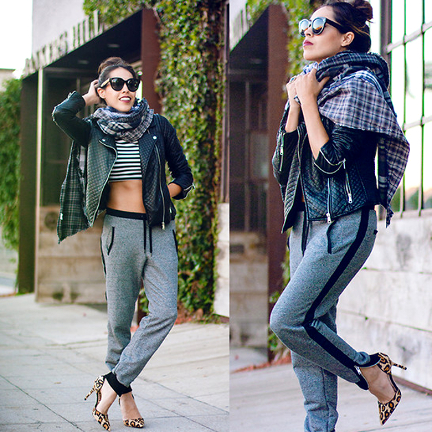 Jogger Pants With Leather Jacket