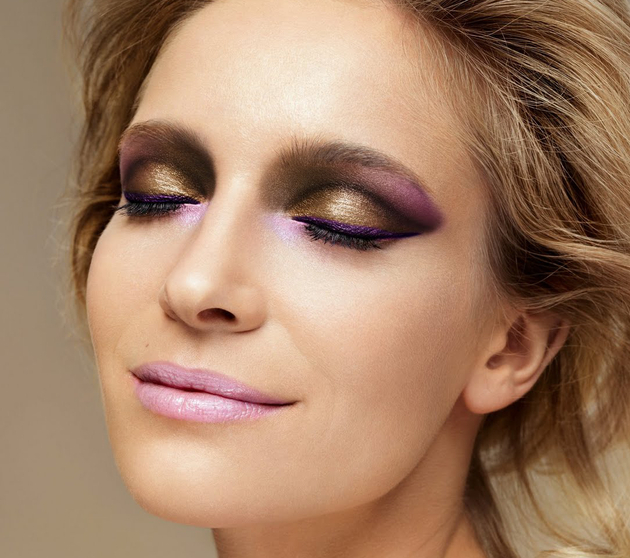 Gold Metallic And Purple Smokey Eyes