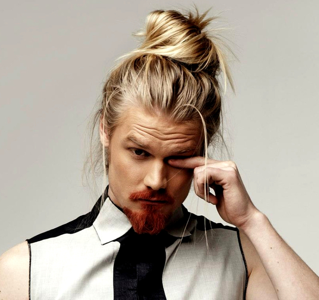 Long Hair Blonde Man Bun