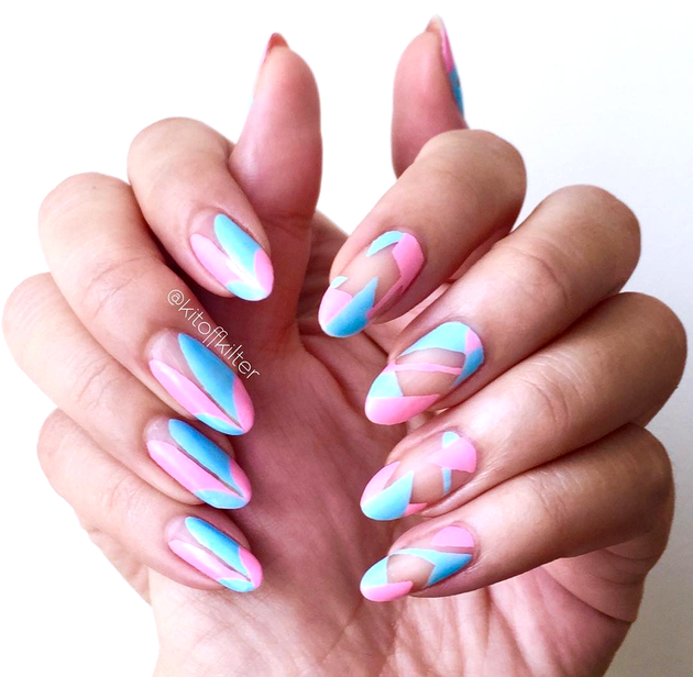Negative Space Pastel Nails