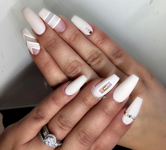 Negative Space White Nails