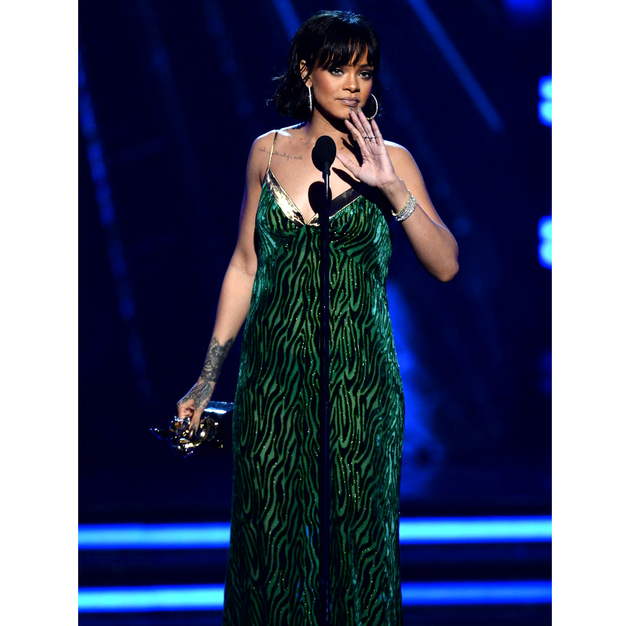 Rihanna 2016 Billboard Green Dress