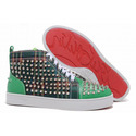 Christian-louboutin-louis-spikes-high-top-women-sneakers-green-canvas-001-01