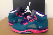 Fashion-new-brand-nike-womens-air-jordan-5-shoes-8003-01-south-coast-green-pink-purple-free-shipping