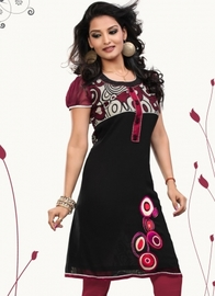 Earthy Maroon Embroidered Kurti
