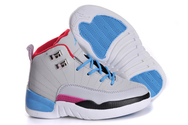 Latest-popular-shoes-air-jordan-12-02-001-kids-miami-vice-grey-blue-white-black-pink-red